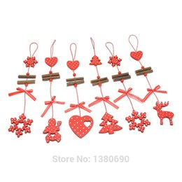 Wholesale metal heart ornaments - 6pcs Natural Wood Christmas Decoration Snowflake Deer Heart with Small Bell Hanging Decor Christmas Tree Decoration Wooden