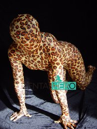 Ternos lycra leopardo on-line-Frete Grátis DHL Adulto Sexy Traje Fullbody Padrão Leopardo Moda Lycra Spandex Zentai Terno Para A ...