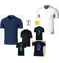 Wholesale France Soccer Jerseys - Maillot de Foot Homme 2018 2019 world cup French football shirt Camisetas Equipe de france White blue tenues Black national Soccer Jerseys