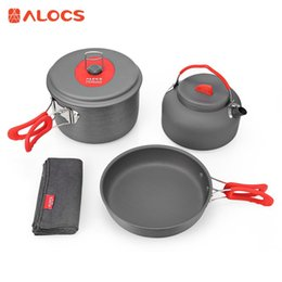 Wholesale Ultralight Kits - ALOCS Portable Outdoor Cookware Set 2 - 3 People Ultralight Cooking Kit Pot Pan Kettle Dishcloth for Camping Hiking