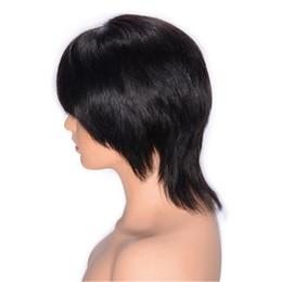 Peruca de malha bang laço on-line-Malásia cabelo humano peruca dianteira do laço com a Bang Natural Color Direto peruca de cabelo Swiss Lace 8 polegadas Ping