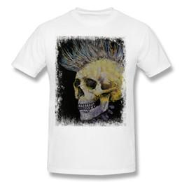 Camicia bianca a buon mercato collo rotondo online-T-shirt da uomo a maniche corte in cotone 100% cotone MOHAWK a maniche corte T-shirt bianca da uomo manica corta 3XL