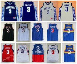 Wholesale allen iverson georgetown jersey - High Quality Mens #3 Allen Iverson Jersey Georgetown Hoyas Allen Iverson College Basketball Jerseys University Jerseys Stitched Shirts