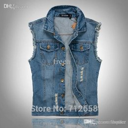 b0c04139b2b13 Wholesale-Classic Vintage Mens Jeans Vest Tops Sleeveless Jeans Jacket Denim  Tops Light Blue Size M-5XL Free Shipping