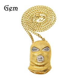 Wholesale Silver Mask Charms - Hip Hop Pendant Necklace Mens Punk Style Alloy Gold Silver Plated Mask Head Charm Pendant High Quality Cuban Chain YYA1110