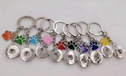 Wholesale dog key - Enamel Dog Cat Paw Prints 18mm Snaps Button Keychain Charm Key Chain For Keys Car Key Ring Souvenir Couple Handbag Key Chain A30