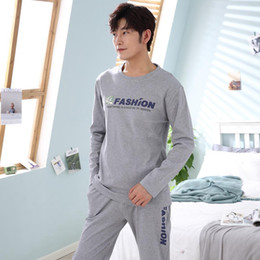 ddbe298665b8 Casual Letter Cotton Pajama Set for Men 2018 Autumn Winter Long Sleeve O-Neck  Pyjama Plus Size Male Lounge Homewear Home Clothes pajama for home on sale
