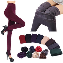 Wholesale Thermal Leggings Wholesale - 1 Pair Winter Fashion New Women's Solid Thick Hosiery Warm Fleece Lined Thermal Stretchy Trousers Leggings Pants