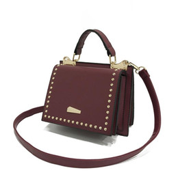 Wholesale Famous Red Wines - women Leather rivet bag famous design Split small Flap vintage wine red handbag fashion personality inclined shoulder bag Free shipping