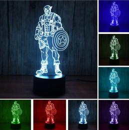 Neuheit 3D Super Hero Captain America Farbwechsel RGB Gradient LED Nachtlicht Atmosphäre Illusion Schlafzimmer Lampe Kind Kinder Baby Spielzeug Geschenke von Fabrikanten