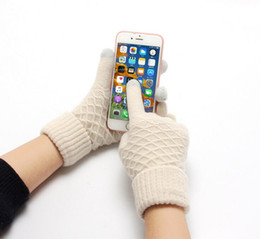 Wholesale Ipad Acrylic - Fashion Warm Women Gloves Touch Capacity Screen Five Figers Gloves Anti-skid Gloves Dring Touchscreen for Phone Ipad