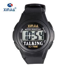 71961aeb3e6 XINJIA Novo Relógio Falante Para Mulheres Homens Cegos Casual Esporte  Digital Idosos Visially Degradado Italiano Árabe Japonês Coreano Tempo