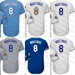 Wholesale Youth Baseball Jerseys - 2018 MEN WOMEN YOUTH 50th season patch #8 mike-moustakas Kansas City gray white blue gold royal flex base baseball jersey stitched S-4XL
