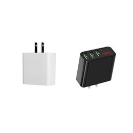 Wholesale cellular phones wholesale - 3 USB Ports Wall Charger 5V 3A Fast Plug Chargers US AC Adapter Voltage Current LCD Digital Display For iPhone Android Cellular Phone
