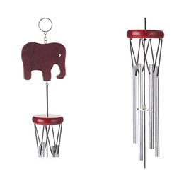 Wholesale Decorating Piping - Solid Wood Wind Chime Retro Silvery Copper Pipe Elephant Indoor Courtyard Small Bell Novelty Items Ornaments Home Decorate 5 8bz V