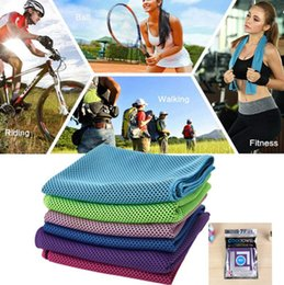 Wholesale Cool Towels - 88*33cm Ice Cold Towel Cooling Summer Sports Exercise Cool Quick Dry Soft Breathable Cooling Towel Running Jogging Sports Towel KKA4283