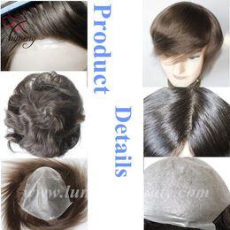 Wholesale Thin Skin Hair Wig - Lumeng Thin Skin Pu Wig Human Hair Mens Hair Replacement System 8X10inch