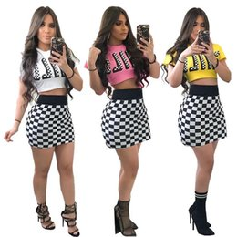 Wholesale Ladies Knit Suits Dresses - 2018 New Women two piece dress Sexy slim lattice printed club bodycon two-piece skirt suit ladies Crop Top + High waist Package hip skirt