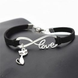 Wholesale Jewelry Foxes - AFSHOR New Fashion Antique Silver Cute Animal Cat Charms Small Fox Pendant Infinity Love Leather Bracelet Bangle Lovely Jewelry Unique Gifts