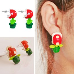 Wholesale Free Pottery - Flower Ear Studs Soft Pottery 3D Piranhas Earrings Handcrafted Polymer Clay Earrings Ear Accessories Ear Studs Free DHL D445L