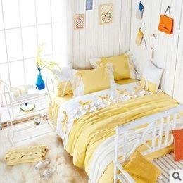 Wholesale Light Pink Comforter Set Queen - Sweet Girl Light yellow white Fairy duvet cover bedding set princess 100% cotton Lace bed Skirt full queen king size set B3032