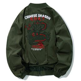 design de broderie chinoise Promotion Chinois Dragon Broderie Hommes Casual Baseball Veste 2018 Nouveau Design Bomber Vestes Manteaux Hip Hop Butin Outwear