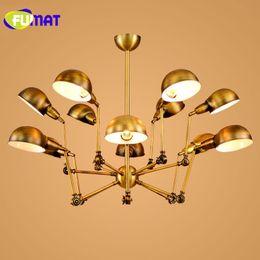 Wholesale Coloured Light Pendants - FUMAT Spider Gold   Black Colour 6   9   12 Heads Nordic Iron Pendant Light Restaurant Livingroom Lamp Studio Light Free Shipping