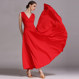 Wholesale ballroom dresses for women - Long Standard red black ballroom Contemporary modern dance competition dress for adults women Samba waltz tango dress