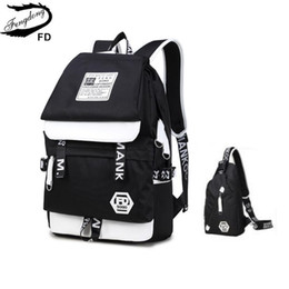 FengDong 2pcs black and white USB Port backpack for teenagers men travel  bags one shoulder male sling chest bag set school bags 7b17eb607c9f6