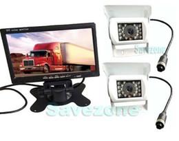 """Camara de trailer online-2x CCD blanco cámara de marcha atrás 4Pin +7 """"Monitor LCD Bus Trailer Kit de visión trasera del coche"""