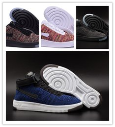 Wholesale Fly Leather - air force 1 fly knit fly wire low and mid black gray all white blue red ,lots of colors to choose