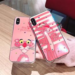 Manzana pantera online-PURE KASE para iphone X caso lindo Pink Tiger Panther suave TPU cubierta del teléfono celular con Rhinestone envío gratis