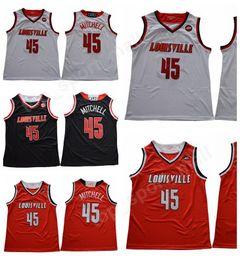 2019 maglie di pallacanestro colore rosso Uomini Basket Donavan Mitchell 45 College Louisville Cardinals maglie a buon mercato tutto cucito squadra rosso via nero bianco colore di alta qualità maglie di pallacanestro colore rosso economici