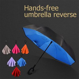 Wholesale Uv Sun Protection Umbrella - Sun Rain Anti UV Umbrella Protection Black Ombrello Pioggia From The Rain Creative Reverse Beach Umbrellas Women Size QQD045