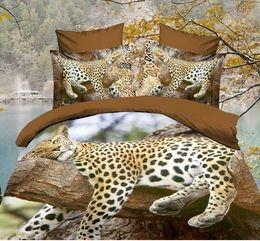 Wholesale Comforter Sets Leopard Print - 3D Bedclothes Leopard Sleeping 4pcs Bedding Sets King Or Queen Reactive Print