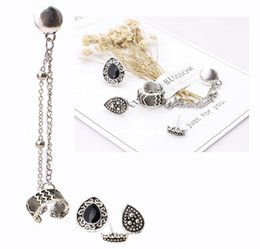 crown stud settings Promo Codes - Women Earring Sets Vintage Silver Color Stud Earings Chain Ear Cuff Crown Droplet Boho Bohemian Jewelry 4pcs Set D469L