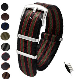 blue nato strap Coupons - 20mm 22mm Seat Belt Nylon NATO Zulu Strap Heavy Duty Watch Band Replacement Watch Straps Black Blue Grey James Bond