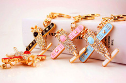 Wholesale Wholesale Airplane Keychains - Airplane Model Plane Keyring Keychain - Fashion Car Rhinestone Key Chain Ring Holder For Women - Purse Bag Pendant Charms