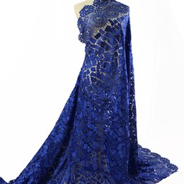 nigerian guipure lace dresses Coupons - Blue Latest Sewing African Lace Fabric Wholesale Guipure Lace Fabric High Quality Nigerian Cord Lace Fabric With Stones Women Wedding Dress