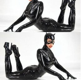 costume de pvc Promotion 2016 Plus La Taille M XL XXL Sexy Catwoman Bondage Catsuit Latex Body Noir Faux Cuir Stretch PVC Lingerie Costume