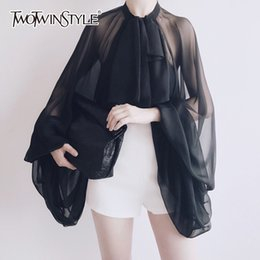 Wholesale Transparent Sexy Blouses - TWOTWINSTYLE Bowknot Chiffon Blouse Shirt Women Lantern Sleeve Tulle Transparent Sexy Tops Large Size 2018 Spring Summer Casual