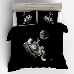 space bedding sets Coupons - Bed Set Adult 3 Pieces Duvet Cover 3D Outer Space Bedding Set Twin Full Queen King Size Quilt Cover Pillow