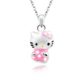 Wholesale Cat Face Necklace - Cartoon cat pendant women hellokitty comic cat pendant short clavicle set chain KT cat silver necklace wholesale