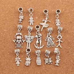 Wholesale fit movies - 140pcs lot Boy And Girl Dangle Big Hole Beads Tibetan Silver Fit European Charm Bracelet Jewelry DIY BM54