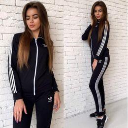 Wholesale two piece jogging suits - new fashion Autumn Winter Letter Sports Suit Pullover Women Hoodie Set Tracksuit Casual Jogging Sweatshirt+Pant Two Pieces