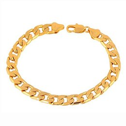 Wholesale 24k Pure Gold Jewelry - 24K Ywllow Gold Pure Copper Bracelet Men Women Jewelry Wholesale Trendy Silver Gold Color 20CM 6MM 10MM Thick Cuban Link Chain Bracelets