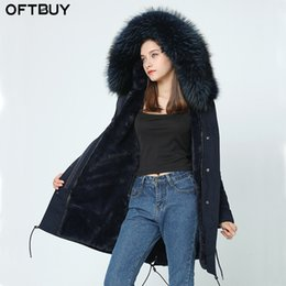 Wholesale Woman Winter Coat Dark Blue - OFTBUY 2017 new winter jacket women basic coat 100% real raccoon fur collar pockets loose dark blue warm thick hooded long parka