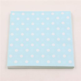 Wholesale towel favors weddings - 20pcs lot Wedding party paper light blue polka dot towel happy birthday baby shower boy napkins tissues kids favors supplies