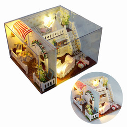 Wholesale Miniature House Lighting - T-Yu Miss Margaret's House DIY Dollhouse With Light Cover Miniatures Model Gift Collection Decor Toy Gift For Children Friend