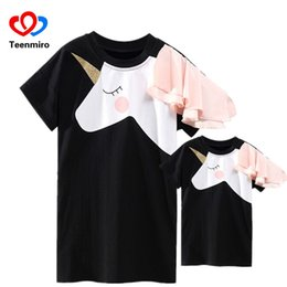 1a4467e82df6d matching mother daughter t shirts 2019 - Family Matching Clothes Mother  Daughter Dresses Matches Unicorn Dress